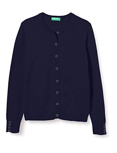 Benetton Maglia Coreana M/l Chaqueta Punto, Azul (Peacoat 252), 116 (Talla del Fabricante: Small) para Niñas