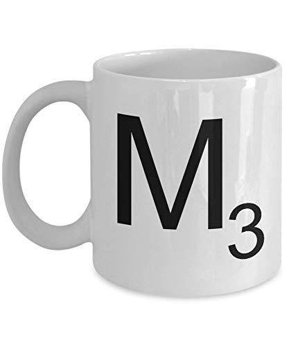 Scrabble Letter, M Scrabble Mug, Unique Novelty Gag Present Idea For Friends, Men, Women, Him, Her, Coworkers, Office Employee, Boss, Humorous Birthday Present, Christmas, 11oz Coffee Tea C 7KBZ1J