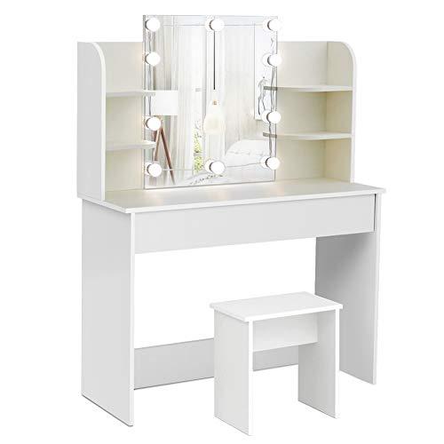 Mondeer Schminktisch mit beleuchtung, mit Spiegel Stuhl 1 Große Schubladen und 6 Fächern, 108x40x142cm Holz Weifür Wohnzimmer Schlaffzimmer
