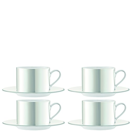 LSA International Pearl Tee/Kaffeetasse & Untertasse 0,25L x 4, Mother of Pearl, Set of 2