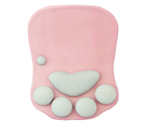 WESAPPINC Cat Paw Mouse Pad with Wrist Support Soft Silicone Wrist Rests Non Slip Ergonomic Mousepad for Office Computer Gaming Desk Decor (10.7x7.8x0.9'') (Pink)