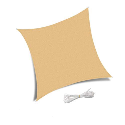 Patio Shack Toldo Vela de Sombra Cuadrado 3x3 m, Protección Rayos UV y Poliéster Impermeable para Exterior, JardÍn, Terrazas Arena