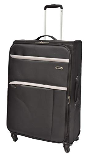 Large Check-in Size Luggage Super Lightweight Soft Case 4 Wheel Suitcase Bag AA10 Black