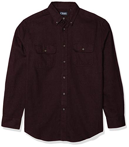 Chaps Men's Tall Long-Sleeve-Casual Untucked Twill Shirt, Rich Ruby Heather, 2X/Big