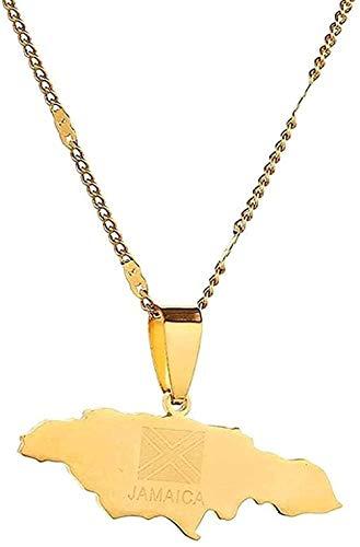 NC122 Collar de Acero Inoxidable Mapa de Jamaica Collar Collares Pendientes Mapa de Jamaica Joyería del Encanto