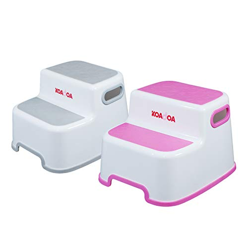 KOADOA 2つ 踏み台 子供 大人兼用 子ども 幼児 ステップ 2段 洗面所 手洗い お風呂 トイレ台 滑り止め (グレー ピンク2セット)