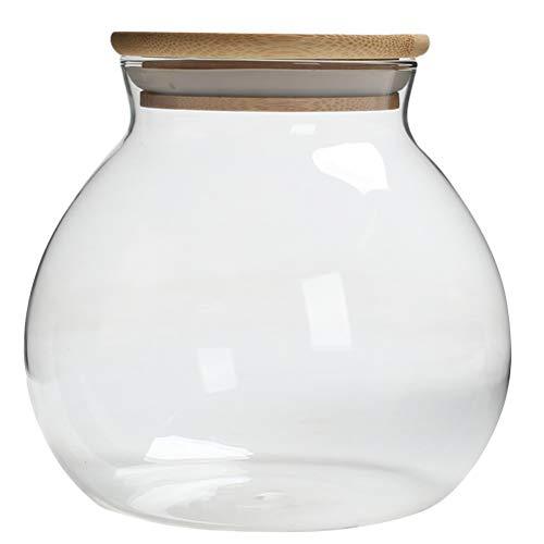 Luxshiny El lacre transparente puede el tarro del bocado puede botella de almacenamiento de té de cristal con la tapa de bambú