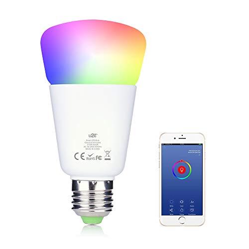 Intelligente gloeilamp, wifi, Smart LED E27 RGB wekker warm licht, dimbare kleur compatibel met Amazon Echo Alexa Google Home en Android iOS app, meerkleurig, 1 verpakking