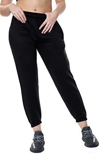 Elite Pleasure - Pantalones de chándal para mujer (forro polar), diseño casual Negro Negro ( 40-42