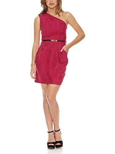 Rare London Kleid One Shoulder Suede rot DE 34 (UK 8)