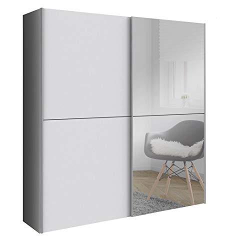 lifestyle4living 2-TRG. Schwebetürenschrank, Korpus und Front in Weiß, 1 Spiegeltür, 2 Kleiderstangen, 2 Einlegeböden | Moderner Kleiderschrank für das Schlafzimmer!