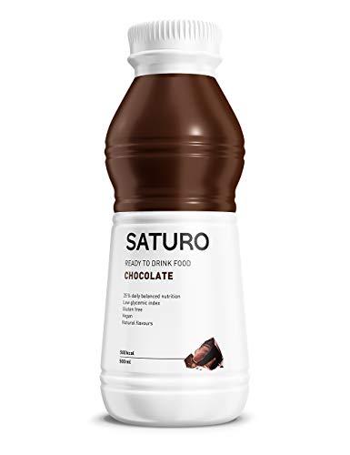 Mahlzeitersatz Shake SATURO, Astronautenkost mit Protein, Allen 26 Vitaminen und Mineralstoffen, Nahrungsersatz zum Abnehmen, Schokolade, 12 x 500 ml