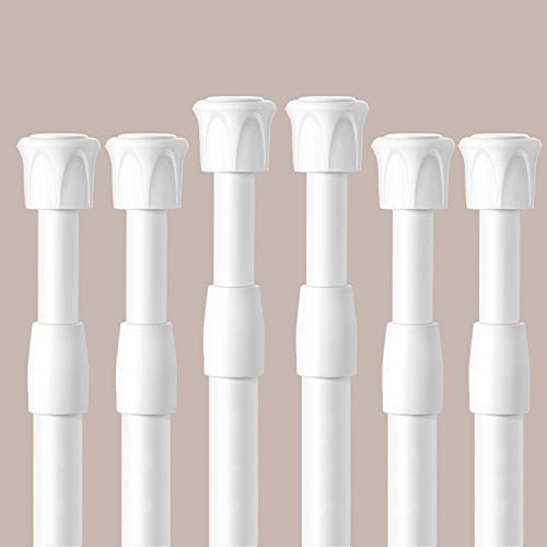 BANCELI - 6 barras para cortina con muelle de tensión, barra de cortina ajustable en longitud, fácil de usar, barra de cortina de ducha para baño, armario, ventanas de cocina, acero inoxidable