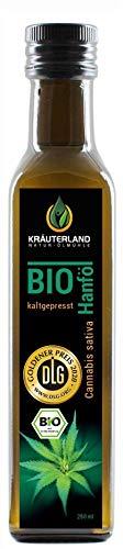 Kräuterland - Bio Hanföl 250ml - 100{9712ac33d719d1bc2aca9f2487f0fcc693973f73262686b4f6a517c0b6d71a6a} rein, hoher Anteil an Omega 3-6-9 Fettsäuren, kaltgepresst, vegan in Premium Qualität - Frischegarantie: mühlenfrisch direkt vom Hersteller
