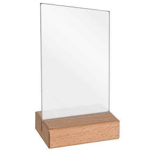 Tischkartenhalter DIN A6 mit Fuß aus Buchenholz und Plakattasche aus Acrylglas doppelseitig/Werbeaufsteller/T-Aufsteller/Tischaufsteller/Gastronomie - Zeigis®