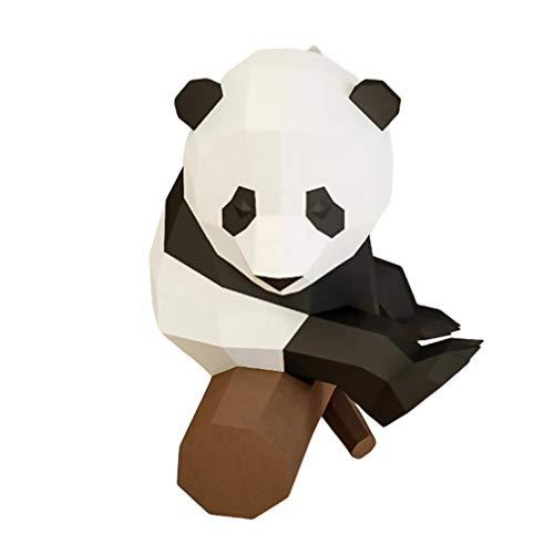 NUOBESTY Sentada Panda Modelo de Papel 3D Acción Papel Artesanía Estereoscópica Geométrica Origami Escritorio Hogar Diy Decoración Adornos Juguetes