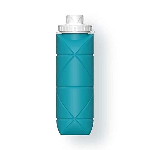 Botella plegable de 600 ml Botella de agua portátil de viaje de deporte retráctil taza de silicona al aire libre Viajar Correr Jogging Drinkwear - Azul