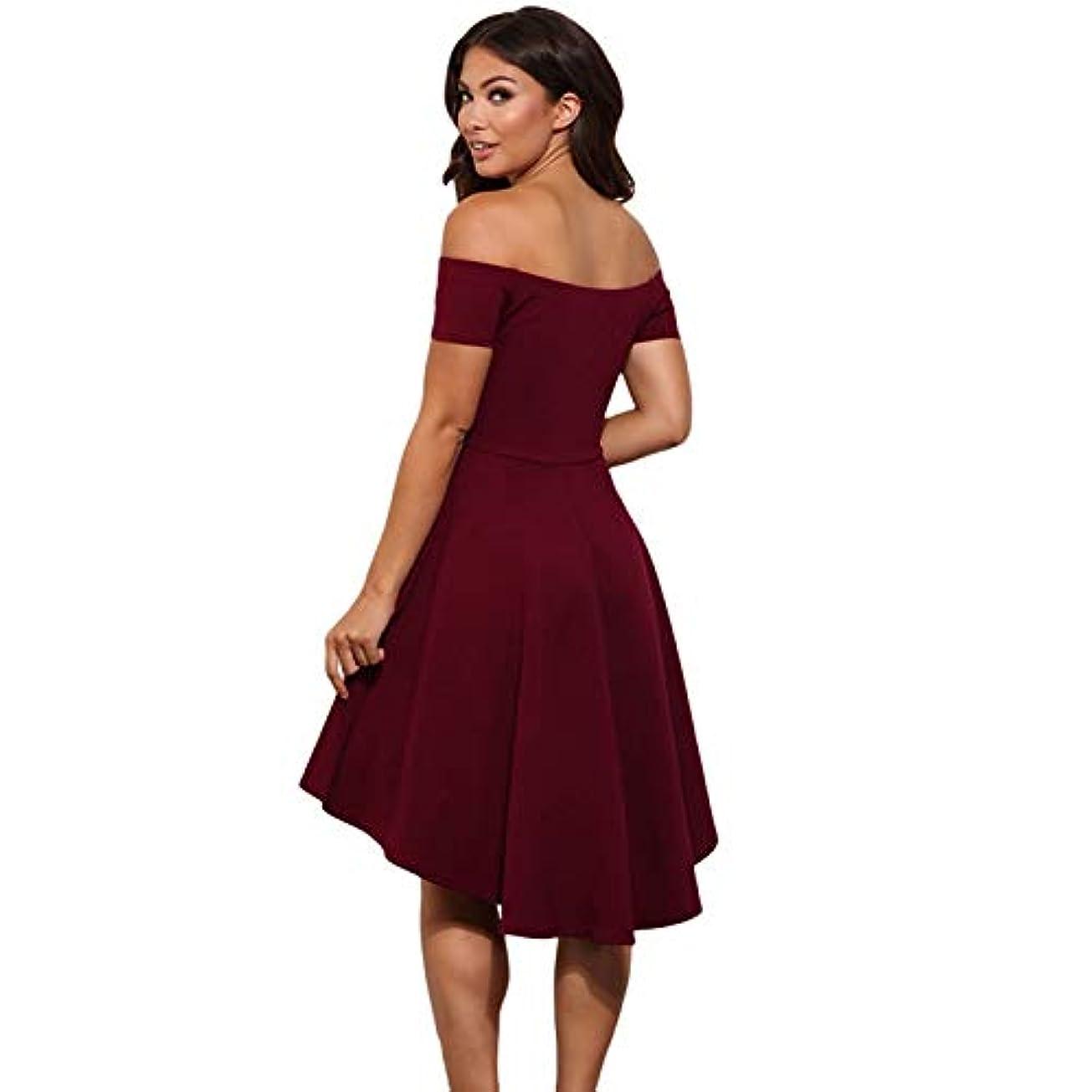 裸試すMaxcrestas - ヴィンテージ女性のセクシーなスラッシュネックソリッドカラーパーティー秋の新しいファッションAライン黒赤ワイン膝丈のドレスドレス