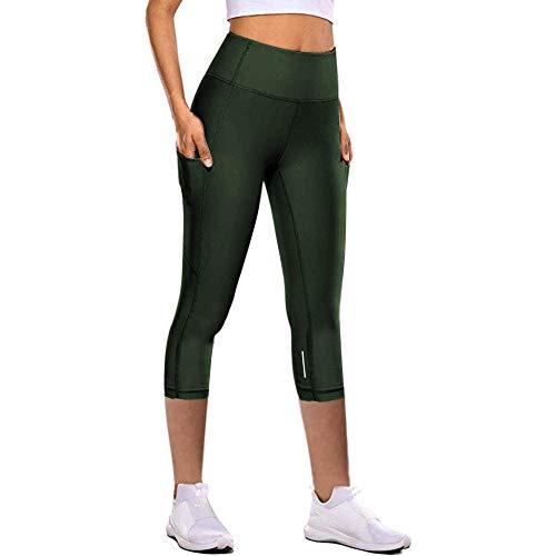 Alta para Mujer Mallas De Yoga Costuras,Pantalones de Yoga de Secado rápido para Mujeres, Pantalones de chándal elásticos Ajustados de Siete Puntos-Verde Militar_XS