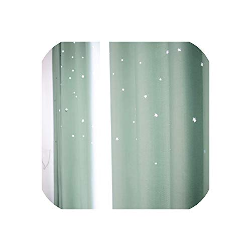 Laser Cutting Stars Navy Blackout Curtain Thermal Insulated Out Star Window Treatment for Kids and Nursery Rooms Decoration,Green,W250xL250cm,Hooks