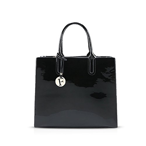 NICOLE&DORIS Elegant Stilvoll Damen Handtaschen Tote Umhängetasche Crossbody Bag Schultertaschen Henkeltaschen Tasche Glänzend PU Schwarz