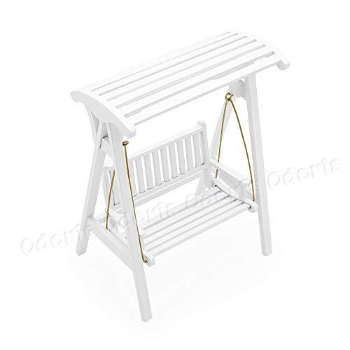 Odoria 1/12 Miniatur Gartenmöbel Hollywoodschaukel Gartenschaukel 2-Sitzer Holz Weiß Für Puppenhaus Möbel Zubehör - 5