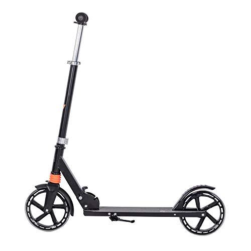 Clamaro \'Sidekick\' 205mm Cityroller Tretroller gefedert, bis 100 kg belastbar, zusammenklappbar, höhenverstellbar, Scooter Kickroller mit Reibungsbremse, für Kinder und Erwachsene, Schwarz