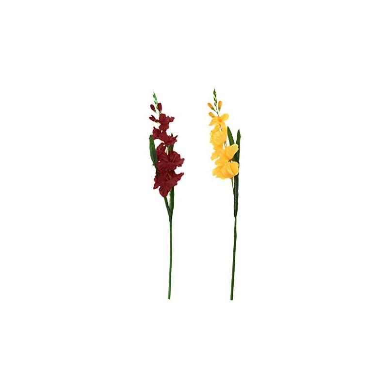 silk flower arrangements f fityle 2pcs artificial simulation gladiolus flower stem wedding home decor - d