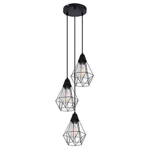 Lámpara colgante de techo retro negro salón comedor iluminación jaula lámpara colgante globo 15351-3HR