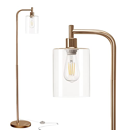addlon LED Floor Lamp, with Hanging Glass Lamp Shade and LED Bulb for Bedroom and Living Room, Modern Standing Industrial Lamp Tall Pole Lamp for...