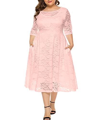 Eternatastic Womens Scooped Neckline Floral lace Top Plus Size Cocktail Party Midi Dress 3XL Pink