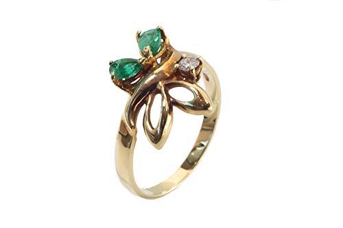 Hopfen sieraden damesring vlinder geelgoud 18 karaat 750/000 met smaragd en diamanten, verlovingsring, cadeau voor Valentijnsdag