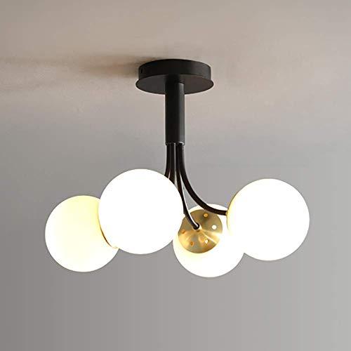 PLLP Chandelier , Farmhouse Classic Smoky Grey Glass Globes Candelabro de iluminación, 6 luces, moderno Mid Century Lámpara de techo Semi empotrado Rústico Lámpara colgante Comedor, Negro,Blanco