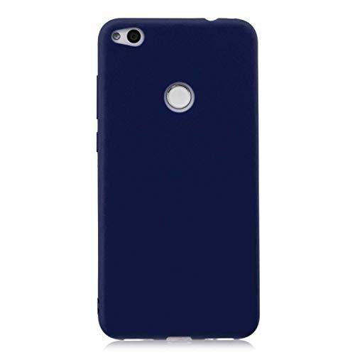 cuzz Funda para Huawei P8 Lite (2017)+{Protector de Pantalla de Vidrio Templado} Carcasa Silicona Suave Gel Rasguño y Resistente Teléfono Móvil Cover-Azul Oscuro
