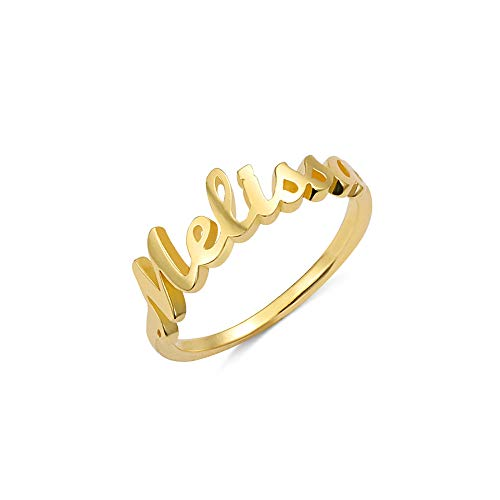 Yofair Personalized Name Ring Custom Jewelry 18k Gold Plated Nameplate Rings Mother Daughter Gift for Women Girls