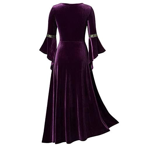 SASAS Renaissance Costume Dress Women Plus Size Chemise Medieval Celtic Irish Gothic Ball Gown Dress Costumes Purple