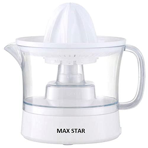 Max Star Exprimidor Eléctrico de Naranja con Deposito, Recipiente Extraíble, Acero Inoxidable,...