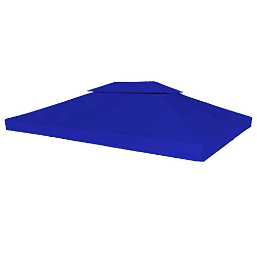 Lyrlody Replacement Roof for Garden Gazebo Canopy Waterproof Polyester Replacement Top Cover for Gazebo Tent 4 x 3 m Blue