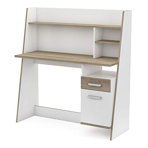 Miroytengo Mesa Escritorio Blanco y Roble Juvenil despacho Moderno altillo Estante 1 cajón 1 Puerta 120x44