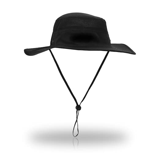 Xingge Pescatore Cappelli degli Uomini e delle Donne, Impermeabile a Tesa Larga Cappelli, Cappelli del Sole, Protezione UV (Black,One Size)