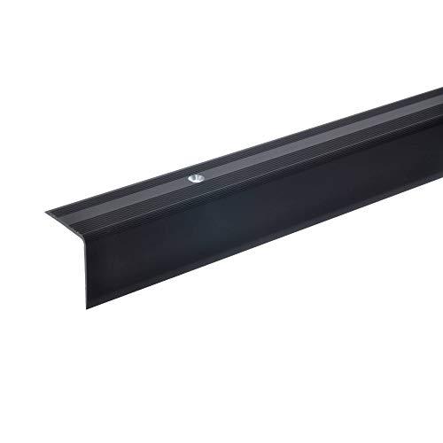 acerto 38060 Aluminium Treppenwinkel-Profil - 100cm, 32x30mm, bronze dunkel * Rutschhemmend * Robust * Leichte Montage | Treppenkanten-Profil, Treppenstufen-Profil aus Alu | Stufenkanten-Profil