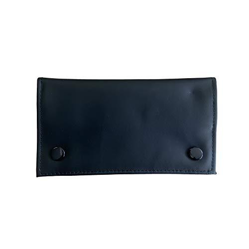 Estuche para tabaco de piel sintética con bolsillo encerado húmedo para tabaco (negro)