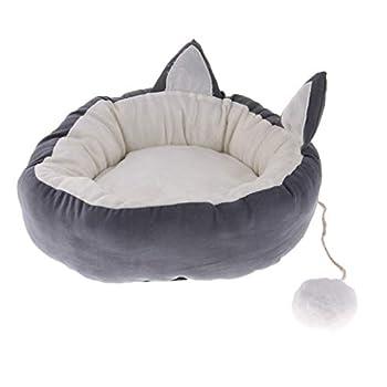 FLAMEER Nid Intérieur et Extérieur Portable Peluche Cat Room Lit Couchage Mobilier pour Hamster - Gris m