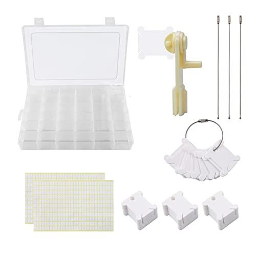 Juego de organizador de hilo de bordar,120 bobinas de hilo/660 piezas de pegatinas en blanco/caja de almacenamiento de 36 rejillas/enrollador de hilo para manualidades de bricolaje