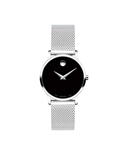 Movado Women's Museum Stainless Steel Watch with a Concave Dot Museum Dial, Black/Silver (607220) -  0607220