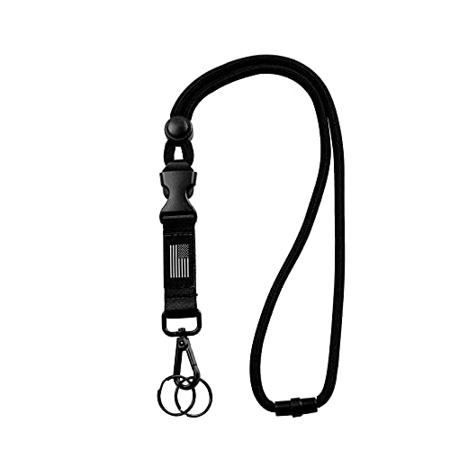 Breakaway Lanyards for ID Badges - Safety Breakaway Lanyard with USA Flag, Adjustable Neck Strap for Card Holder and Keys, Black, 1PCS