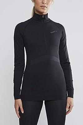Craft Women's Active Intensity Zip Long Sleeve Base Layer Shirt, Black/Asphalt, Large