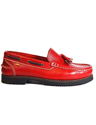 profesional ranking Zapatos La Valenciana Montijo Marine Leather, Rojo Piel-Color-Rojo, Talla-46 elección