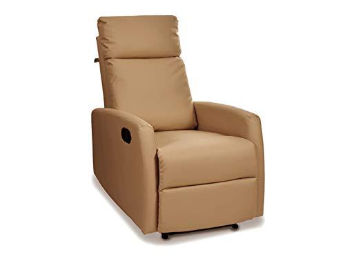 Sillón de Relax Reclinable y Extensible Excellence. Full PU Anti-Cuarteo. Pared Cero. Económico y con Las Mejores Calidades (Camel)