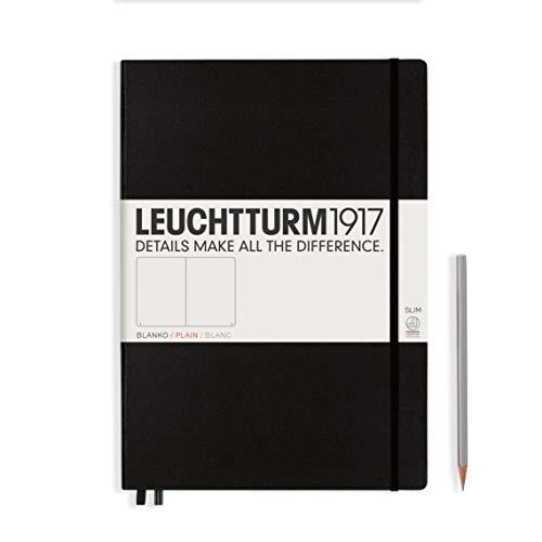 LEUCHTTURM1917 330754 Notizbuch Master Slim (A4+), Hardcover, 123 nummerierte Seiten, Schwarz, blanko